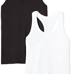 Amazon Essentials Womens 2-Pack Tech Stretch Racerback Tank Top, Black/White, X-Large