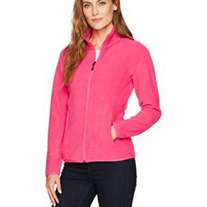 Amazon Essentials Womens Full-Zip Polar Fleece Jacket, Dark Pink, Small