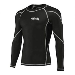 Hawk Sports Mens Compression Shirts Base Layer Athletic Gym MMA BJJ Rash Guard No Gi Full Long Sleeve Rashguard Shirt for Men (Black, Medium)