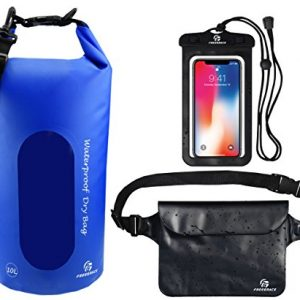 Freegrace Waterproof Dry Bags Set of 3 Dry Bag with 2 Zip Lock Seals & Detachable Shoulder Strap, Waist Pouch & Phone Case - Can Be Submerged Into Water - for Swimming (Navy Blue(Window), 10L)
